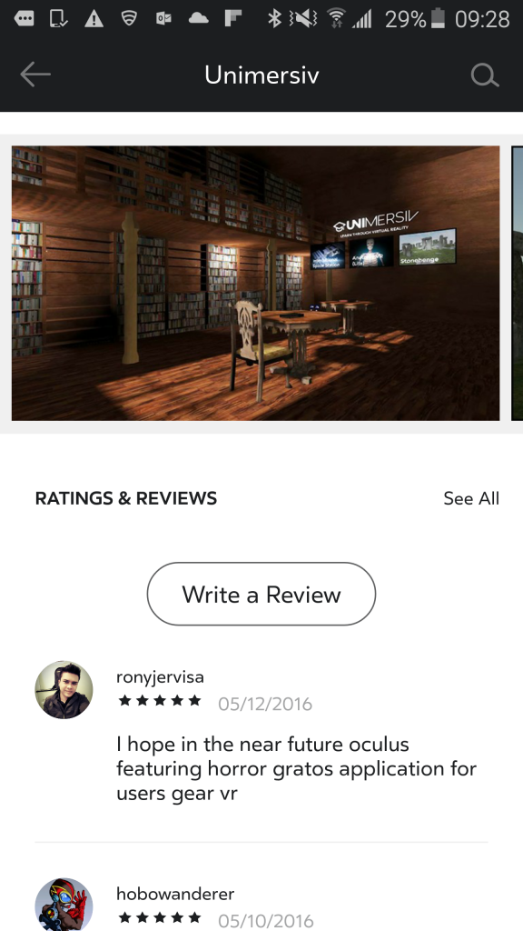 write a review - oculus store